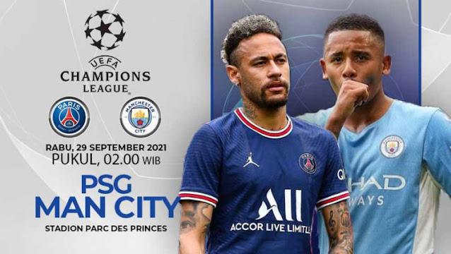 Link Live Streaming Liga Champions : PSG vs Man City