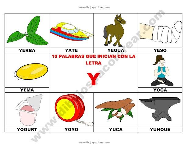 10 palabras u objetos que inician con la letra Y