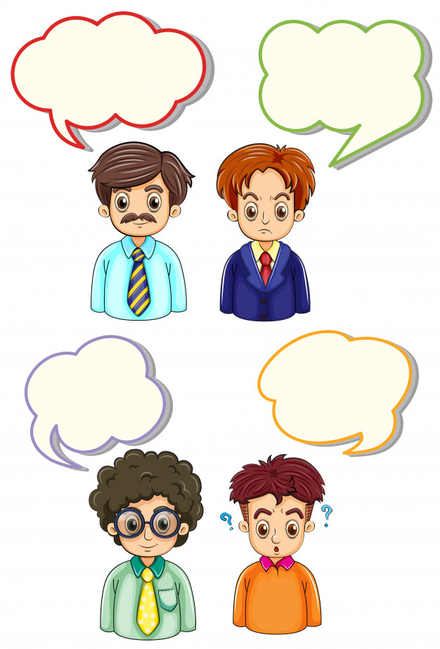 Four men and speech bubbles Free Vector