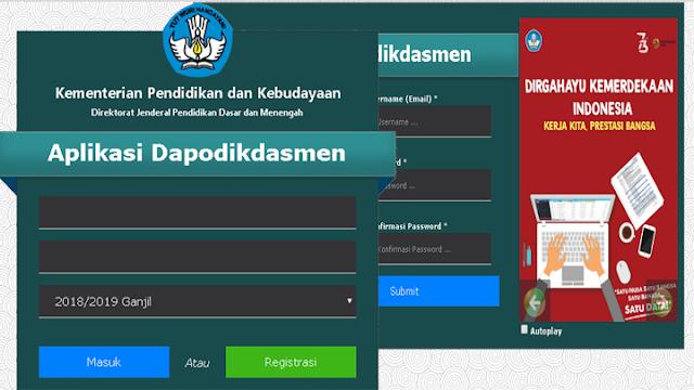 registrasi aplikasi dapodikdasmen 2018