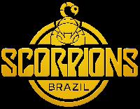 Logo do Scorpions Brazil, todo em amarelo, com um escorpiãozinho