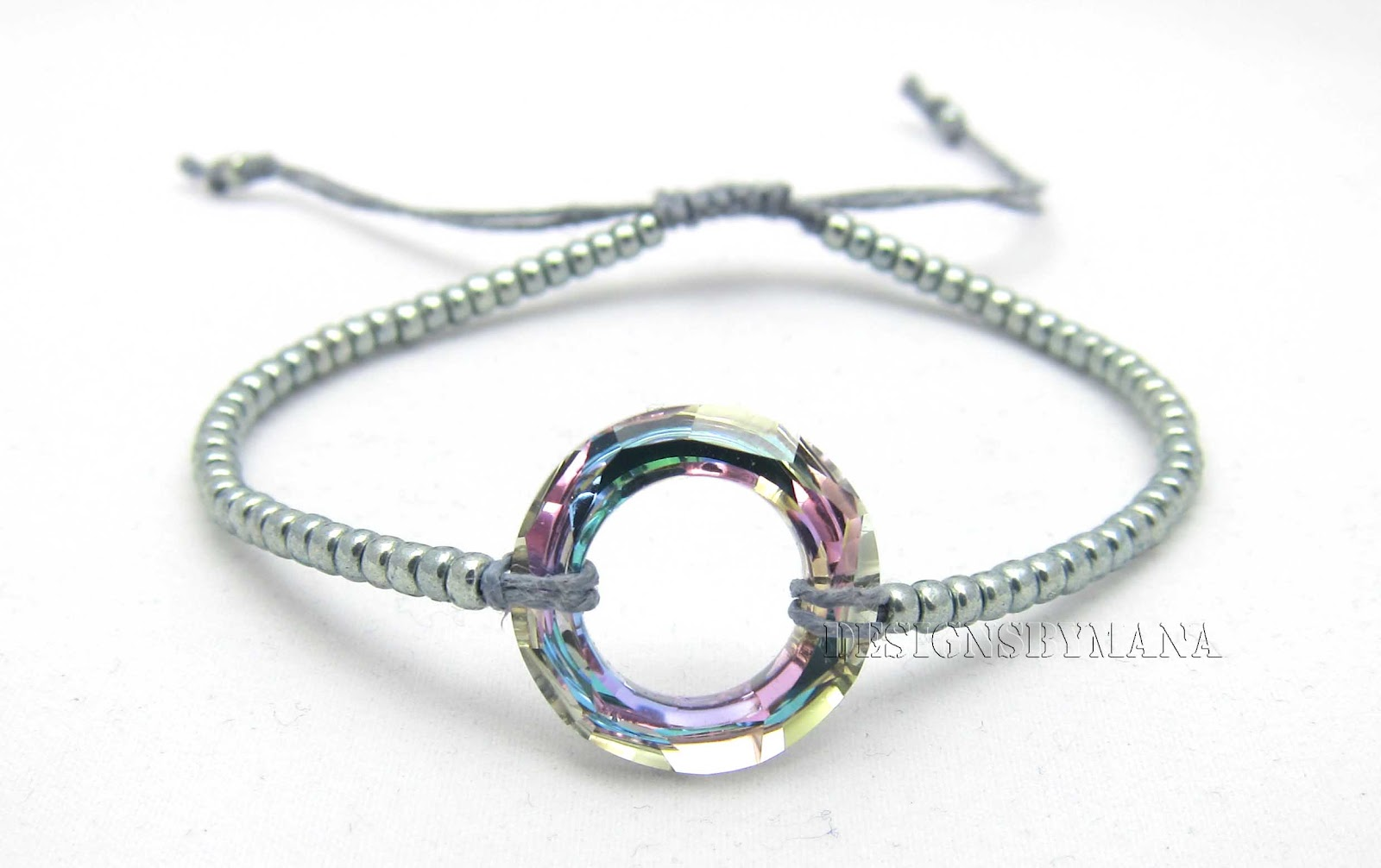 ... :home of handmade bead embroidered jewelry: Crystal Macrame Bracelet