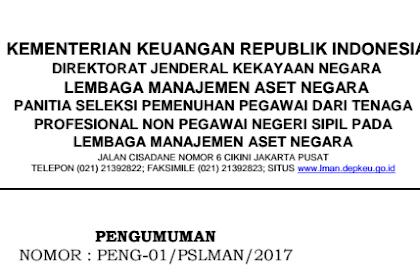 Rekrutmen Non PNS Kementerian Keuangan RI Tahun 2017