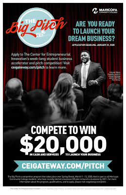 Graphic shows a person giving a speech. Content says, 'Are you ready to launch your dream business?""