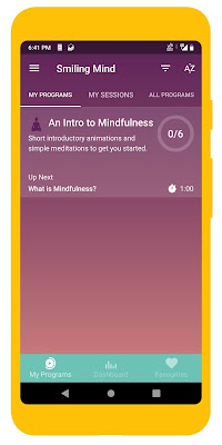 Screenshot of Smiling Mind meditation app