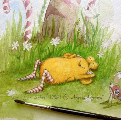 Loni lacht, Pumpf, Kinderbuchillustration, kleines Monster, Aquarell, Kommoß