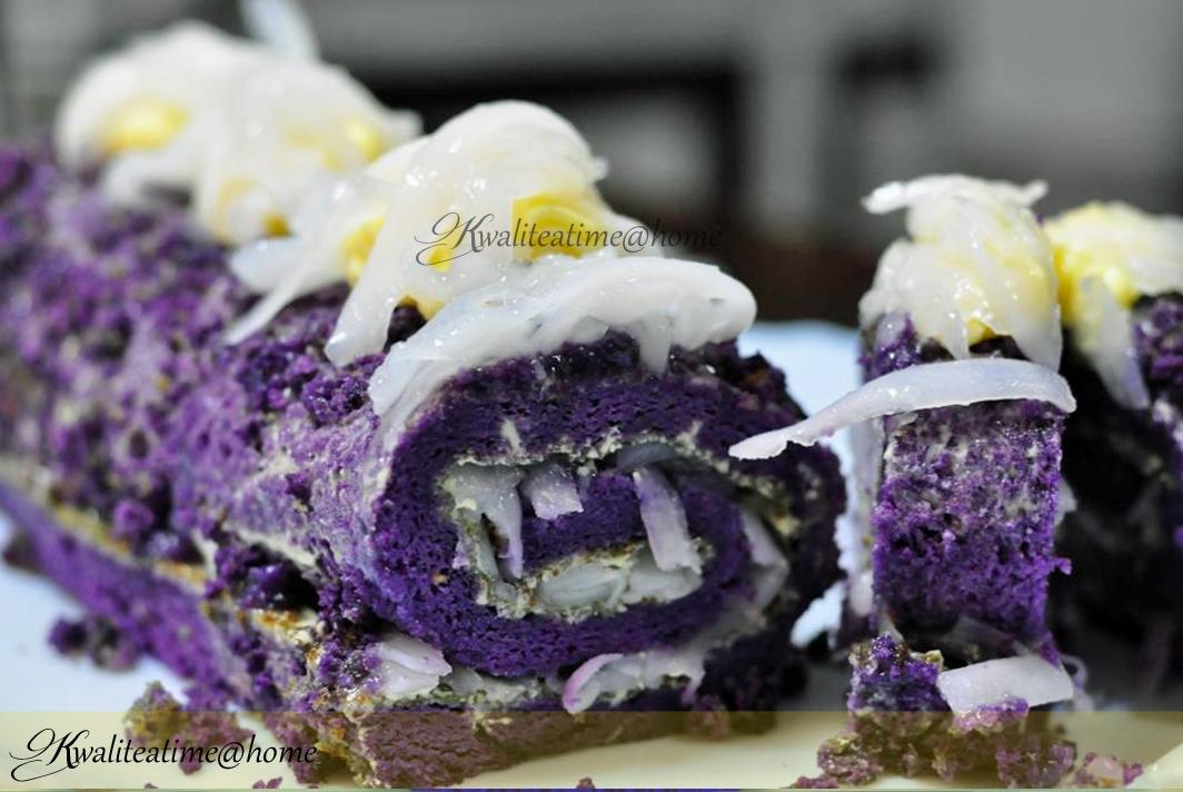 Ube Roll Cake Recipe With Macapuno