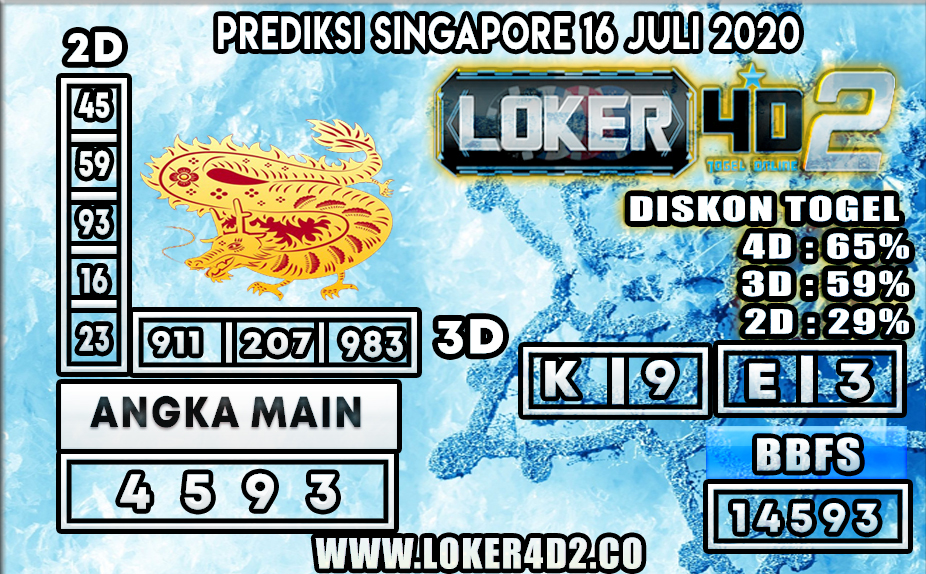 PREDIKSI TOGEL LOKER4D2 SINGAPORE 16 JULI 2020