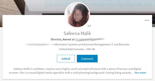 Social media με Linkedin, Facebook και Google Accounts η Safeena Milik
