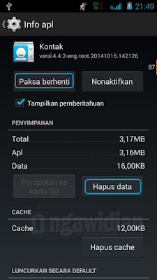 Hapus Data Aplikasi Kontak Android