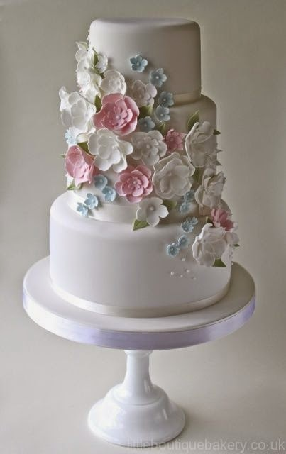 gum paste flowers on white wedding cake