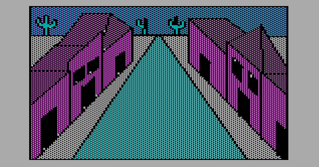 Image of the town from the 1980 Sierra adventure game The Wizard and the Princess.