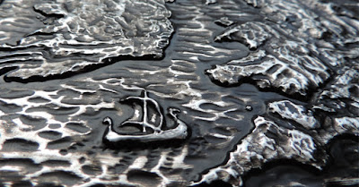 Longship detail: British Isles sculpted wall plaque