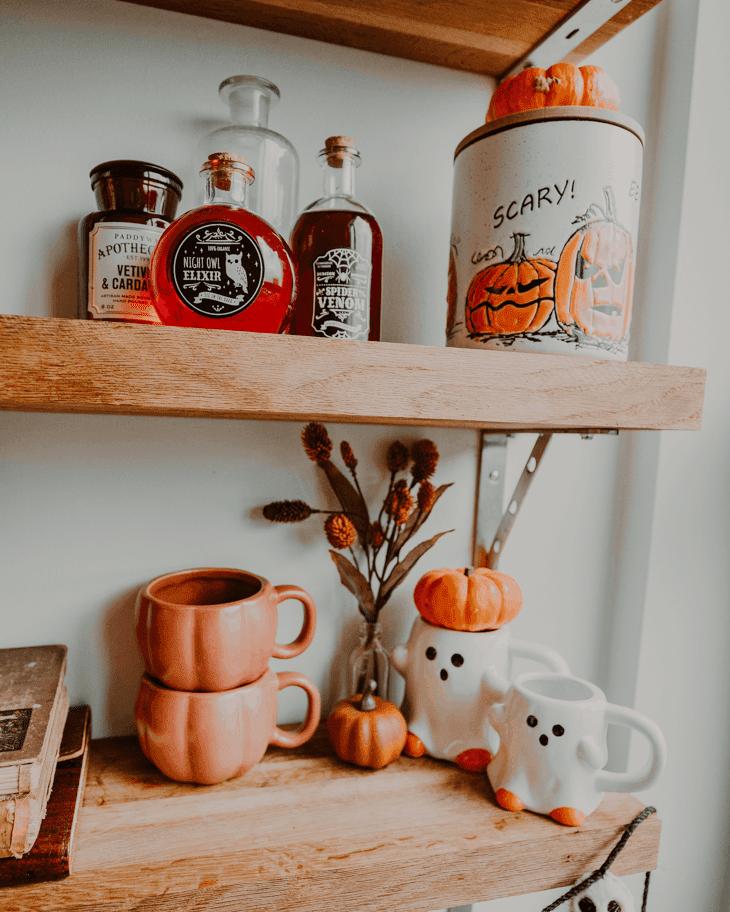 Target pumpkin mug — Target ghost mug — fall coffee mugs — target coffee mugs — Halloween coffee station — Fall coffee bar — fall coffee station — Halloween coffee bar — DIY fall coffee bar