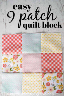 nine patch quilt block with a variety of spring colored fabric