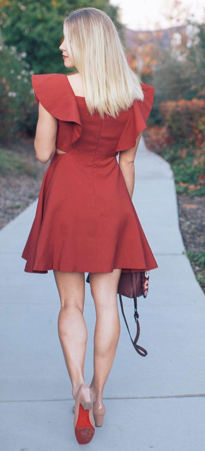 Find sexy valentines day clothes and valentines day fashion. 31+ Cute Valentines Day Outfits for Every Type of Date. Ruffled dress in wine | Valentine style via higiggle.com #valentine #fashion #outfits #love
