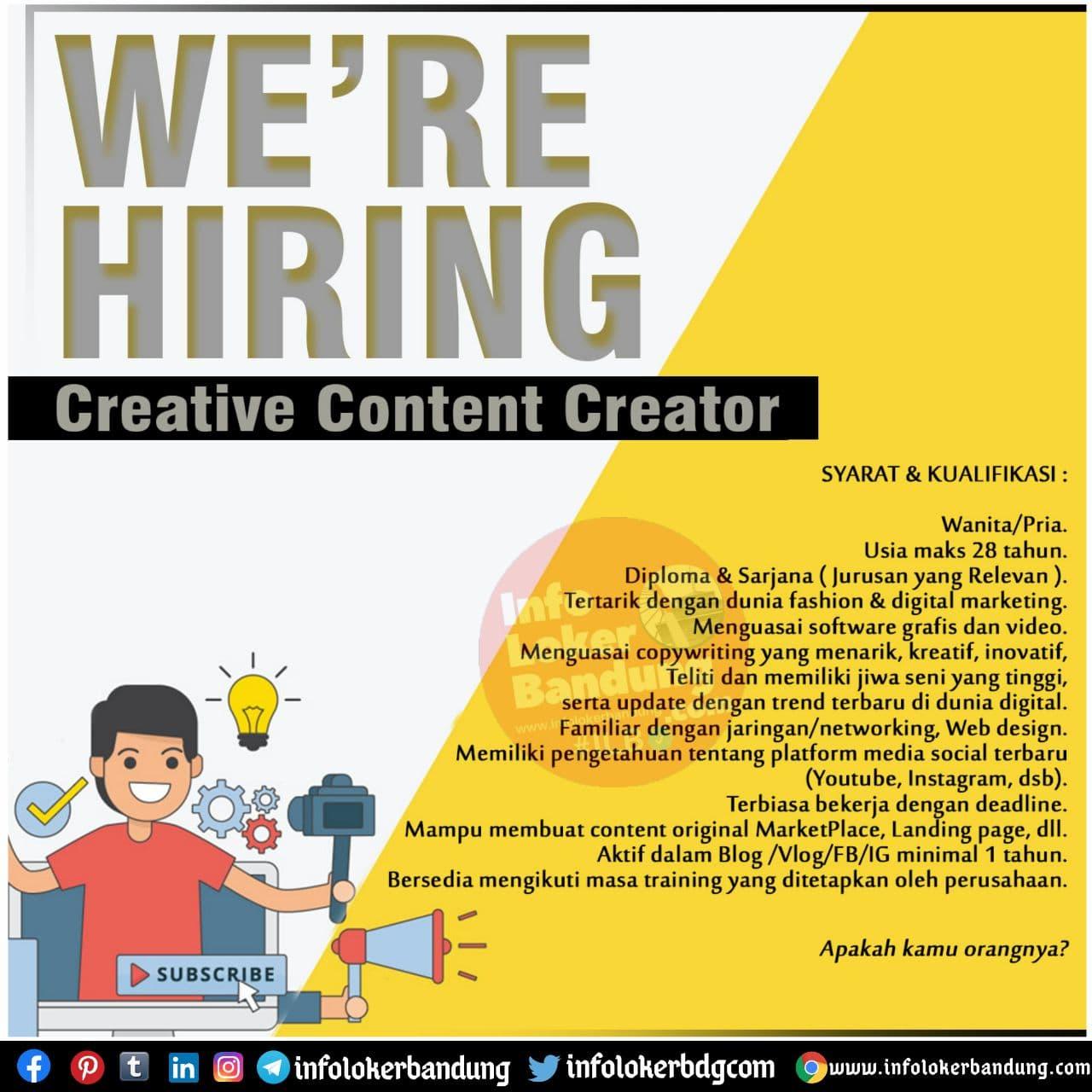 Lowongan Kerja Creative Content Creator PT. Anugerah RST269 Bandung November 2020