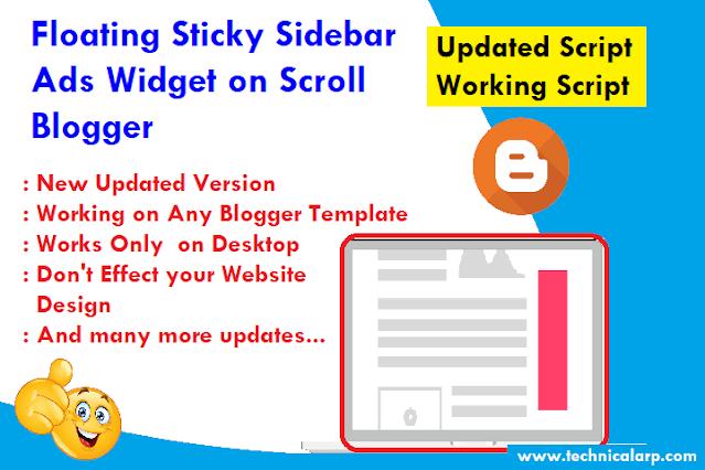 Floating Sticky Sidebar Ads Widget on Scroll Blogger Script