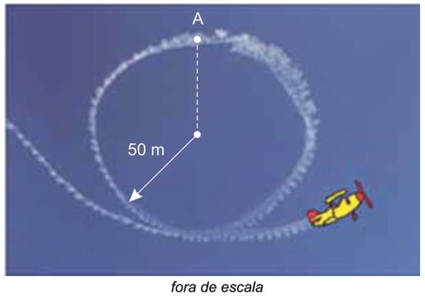 Na figura, está representado um looping circular de raio 50 m contido em um plano vertical, descrito por esse avião