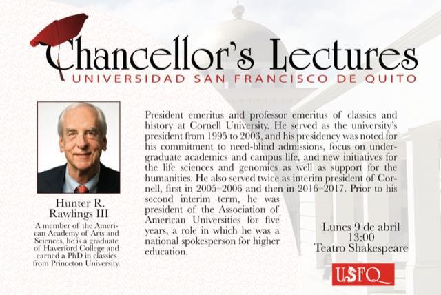 Chancellor´s Lectures: Hunter R., Rawlings de Cornell University
