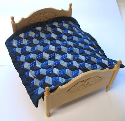 blue dollhouse quilt