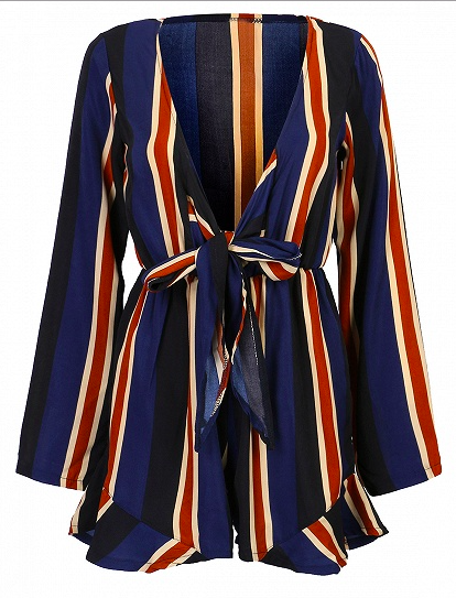Sammi Jackson - Choies Blue V-neck Striped Tie Front Ruffle Side Playsuit Romper