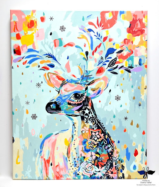 Stamped Winter Deer Paint-by-Number Canvas by Dana Tatar for Paper Wings Productions