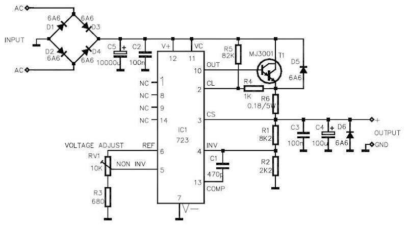 LM723 based on Variable Voltage Regulator |simple schematic ... on