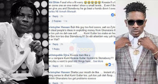 Bhim Nation fans tear Shatta Wale apart over Kumi Guitar's diss song to Stonebwoy comment