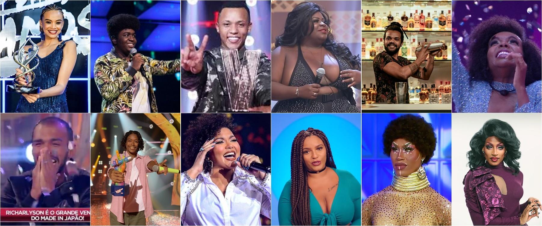 vencedores negros de realities shows no Brasil em 2020 (Foto: Reprodução Internet + montagem Telemaníacos)