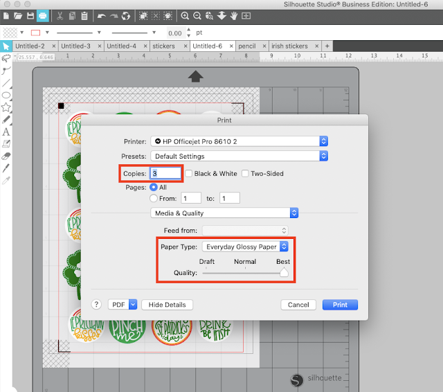 Print and Cut, Print PDF, Silhouette Studio, Silhouette Printer, silhouette print and cut