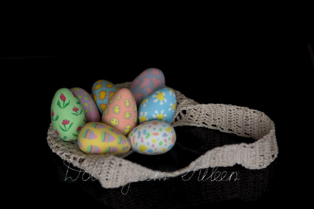 ooak decorated clay Easter eggs
