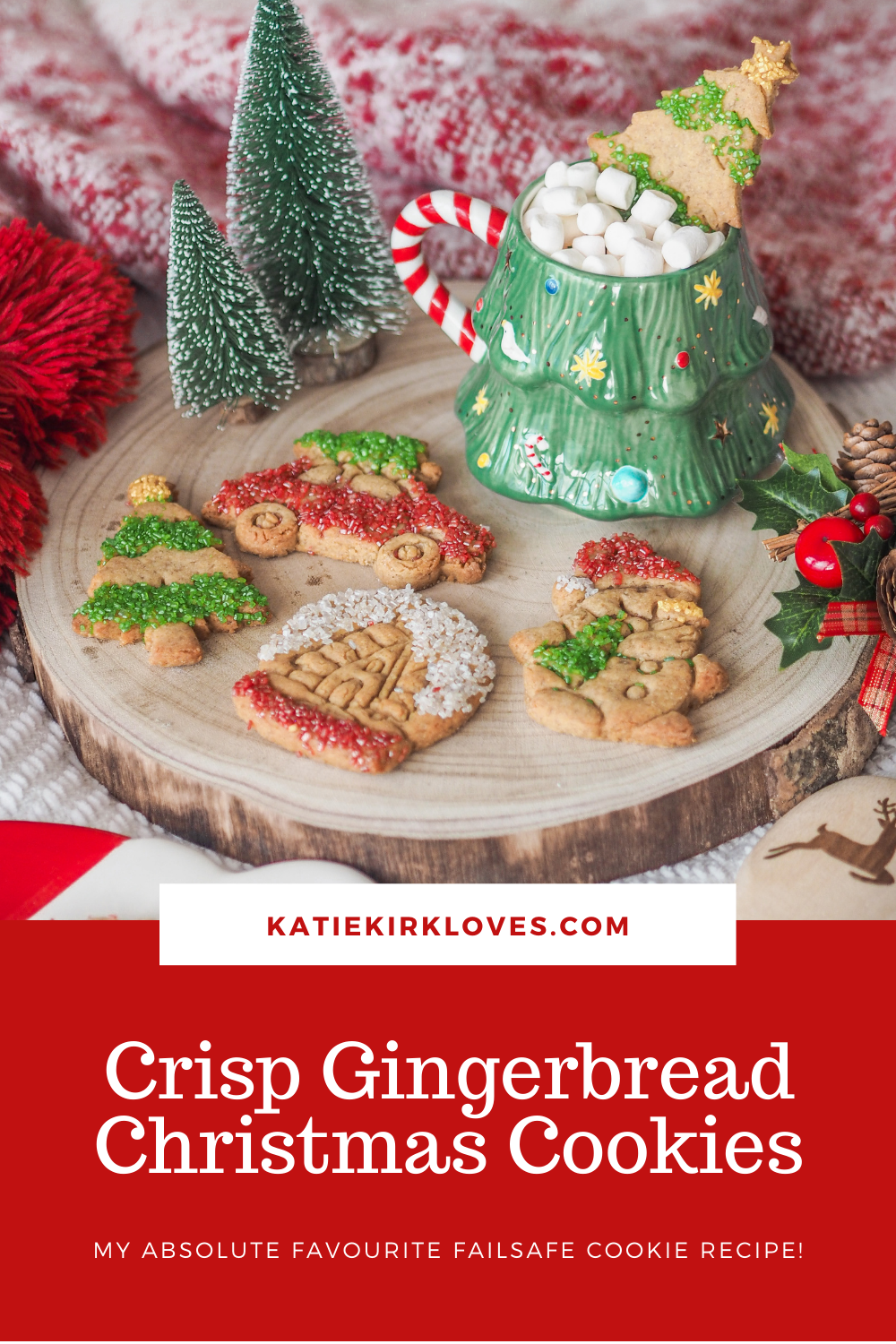 Pin it! Crisp Gingerbread Christmas Cookies, Food Blogger, Katie Kirk Loves, UK Blogger, Christmas Recipe, Christmas Baking, Homemade Christmas Gifts, Home Baking, UK Baking Blog, UK Recipe, Christmas Cookies, Gingerbread Cookies