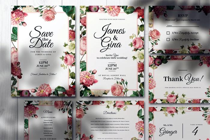 Elegant Wedding Invitations With Flowers PSD Bundle Set
