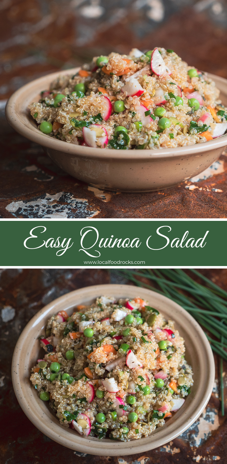 This easy vegan quinoa salad filled with fresh vegetables and a tangy fresh herb dressing is perfect for a crowd or just to portion out and enjoy all week as a healthy lunch. | Local Food Rocks