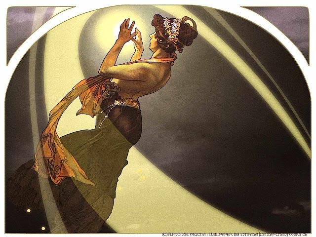 Alphonse Mucha, a woman holding bright light