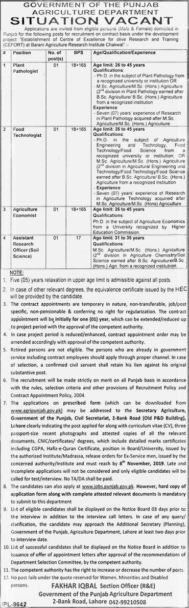 Government of Punjab Agriculture Department jobs