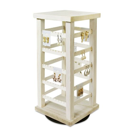 #WD3600-WH Natural Wood Rotating Jewelry Earring Storage Display