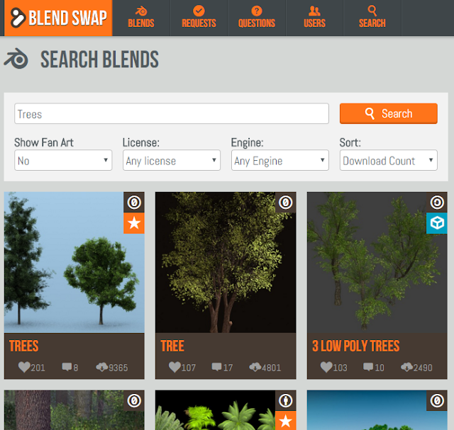 Find free 3d models using Blendswap