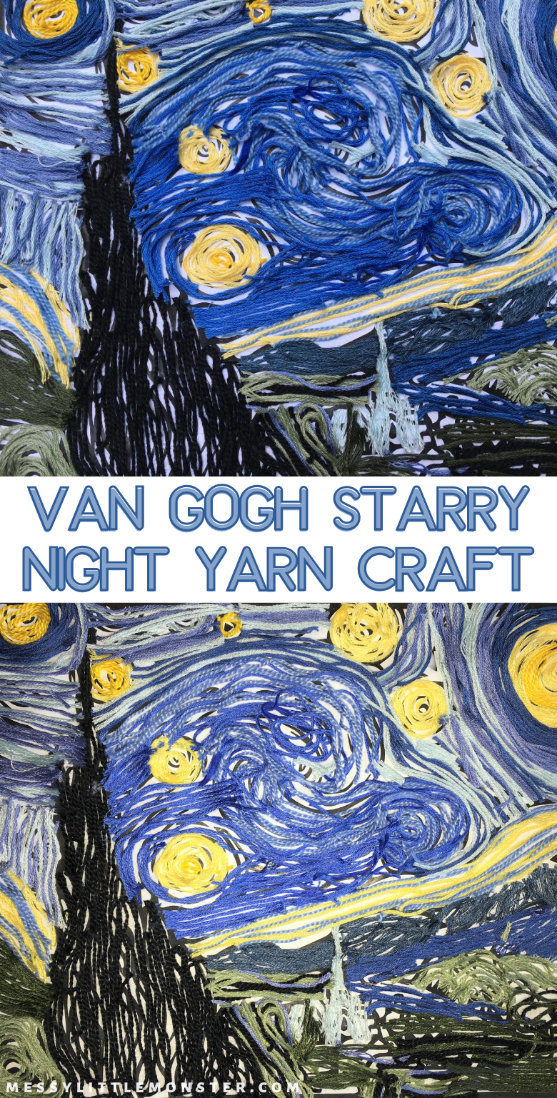 Vincent Van Gogh The Starry Night yarn craft for kids (The Starry Night printable included). A fun famous artists art project for kids.