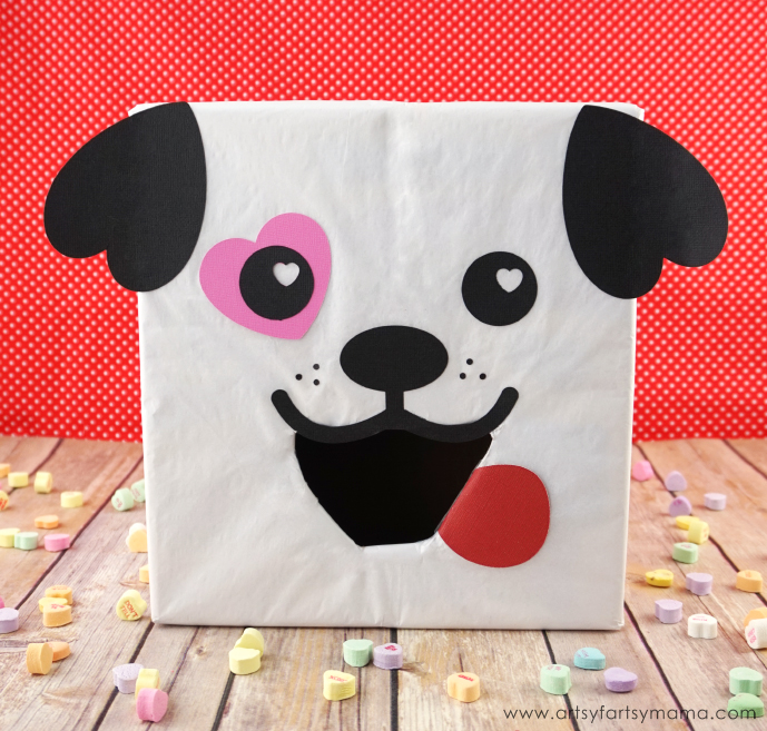 Puppy Dog Valentine Card Box with Free Cut File at artsyfartsymama.com