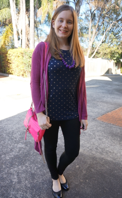 purple cardigan polka dot tee skinny jeans pink bag SAHM spring mother's group outfit | Away From Blue