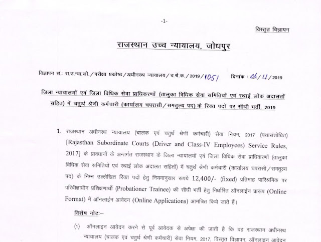 Rajasthan High Court Group D Notification PDF Form