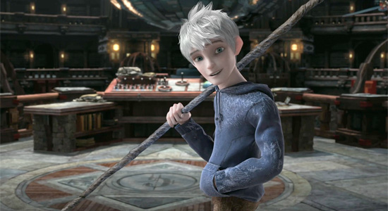 Jack Frost holding a spear in Rise of the Guardians animatedfilmreviews.filminspector.com