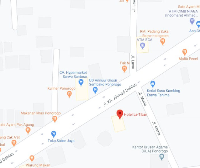 Map Letak Hotel Latiban Ponorogo