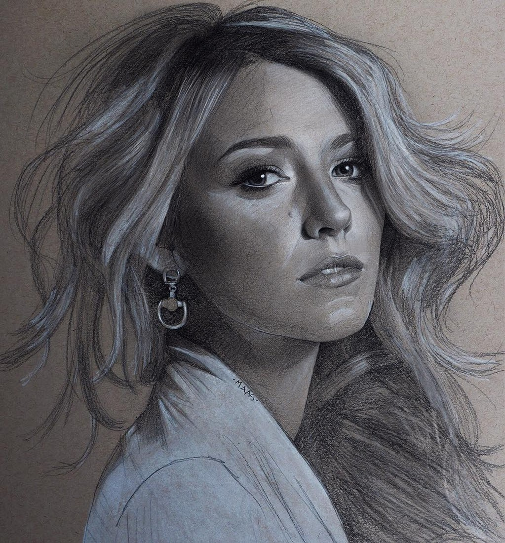 04-Blake-Lively-Justin-Maas-Pastel-Charcoal-and-Graphite-Celebrity-Portraits-www-designstack-co