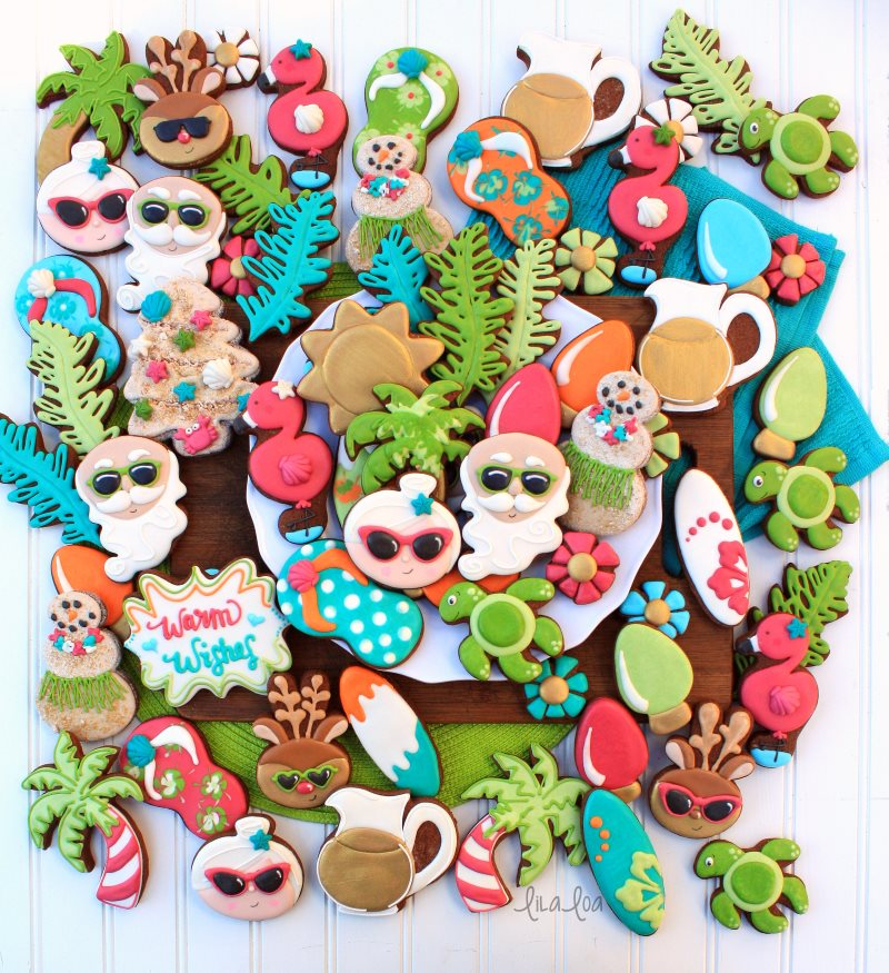 brightly colored summer Christmas decorated chocolate sugar cookies