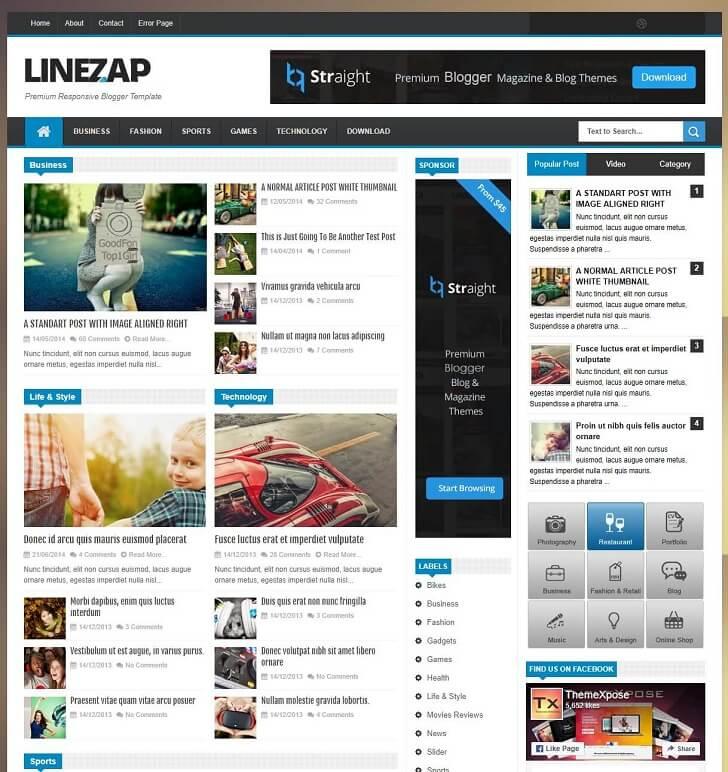 Линезап Адаптивна Тема за Blogger