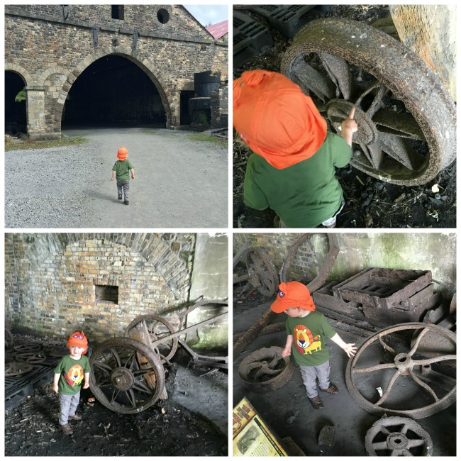 Blaenavon-Ironworks-A-collage-of-a-Toddler-looking-at-wheels
