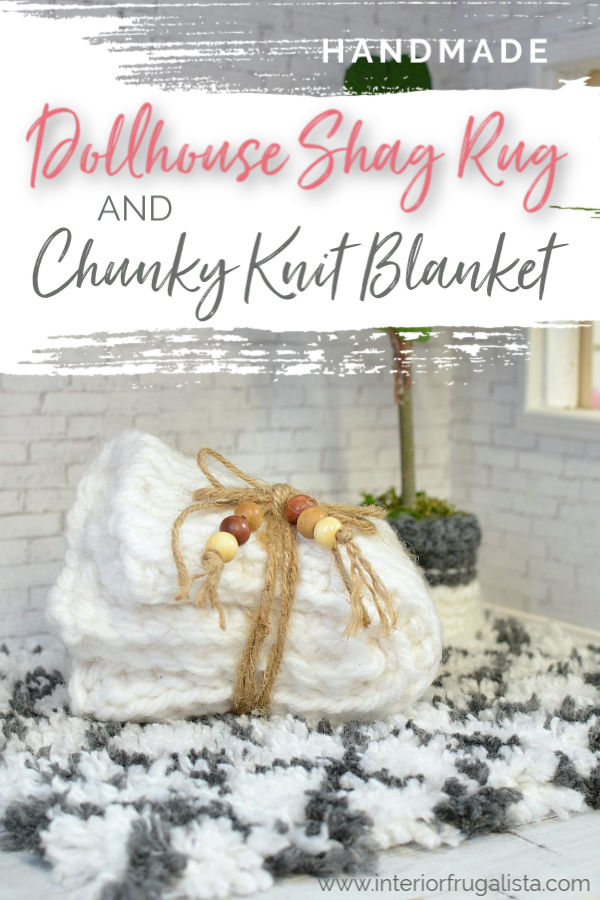 Two DIY dollhouse accessory ideas with yarn. How to make a trendy diamond shag area rug and a miniature chunky knit blanket throw with a crochet hook.